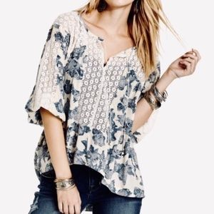 Free People Blue Print Boho Top Sz XS
